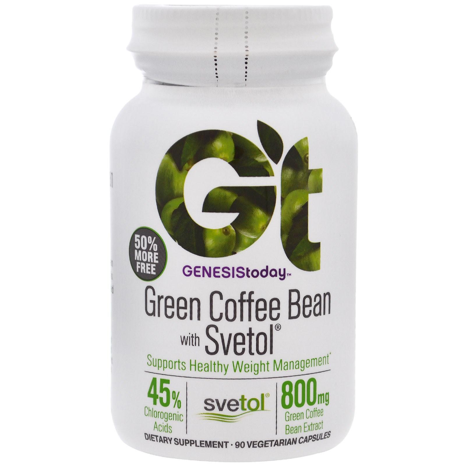 Genesis Today, Зеленые кофейные бобы, Светол, Чистая продукция, 90 капсул