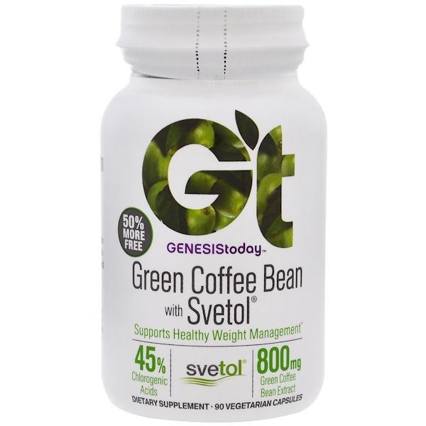 Genesis Today, Green Coffee Bean with Svetol, 90 Vegetarian Capsules