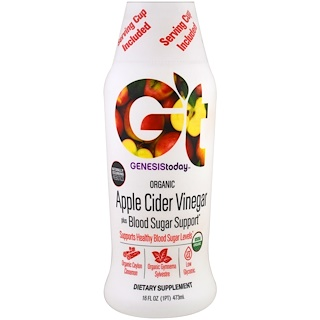Genesis Today, Organic Apple Cider Vinegar Plus Blood Sugar Support, 16 fl oz (473 ml)