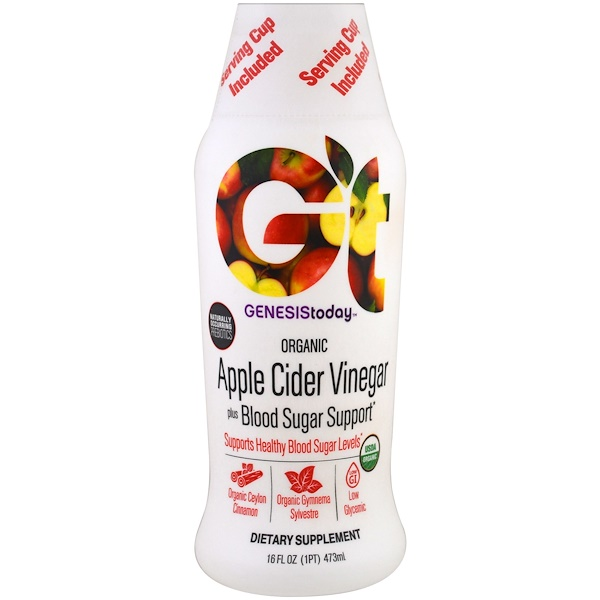 Genesis Today, 有機蘋果醋,添加血糖維護,16液量盎司(473毫升)