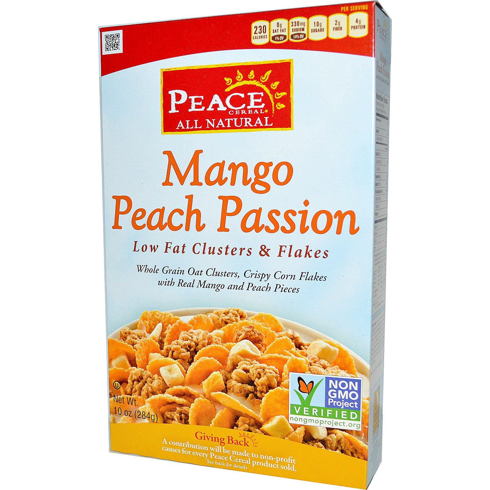 Peace Cereal, обезжиренные кусочки и хлопья, манго персик пассифлора, 10 унций (284 г)