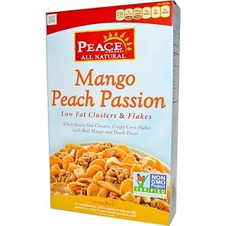 Peace Cereal, Low Fat Clusters & Flakes, Mango Peach Passion, 10 oz (284 g)