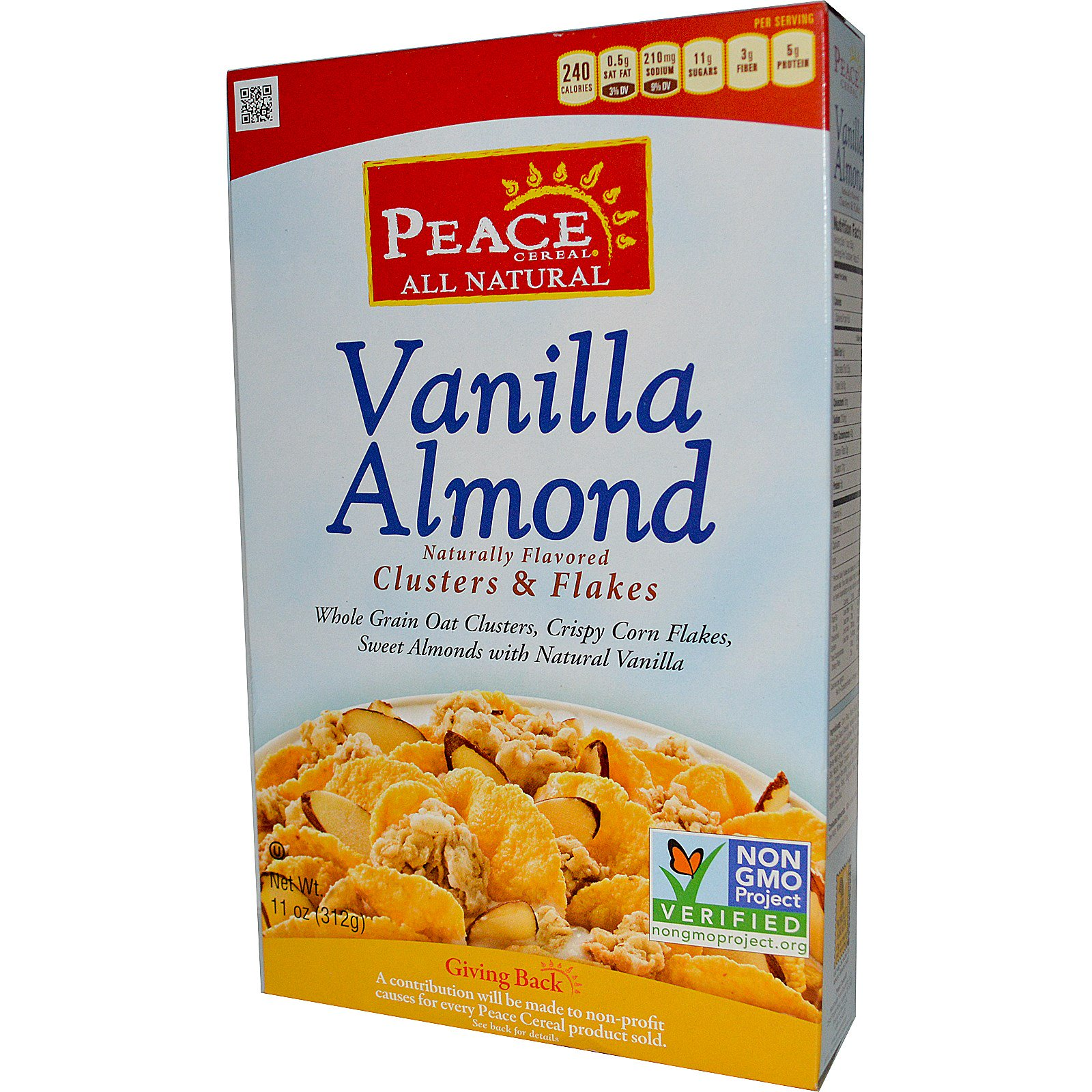 Peace Cereal, кусочки и хлопья, ваниль и миндаль, 11 унций (312 г)