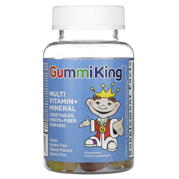GummiKing, Multi Vitamin + Mineral, Vegetables, Fruits + Fiber For Kids, 60 Gummies