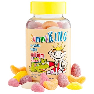 GummiKing, Calcio Plus vitamina D para niños, 60 gomitas