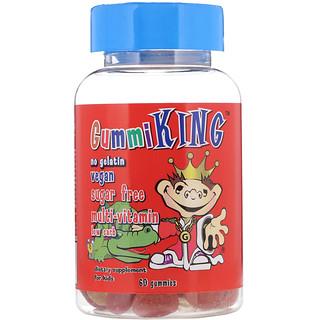 GummiKing, Мультивитамины для детей без сахара, 60 жевательных таблеток