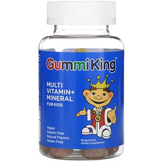 GummiKing, Multi-Vitamin + Mineral for Kids, Strawberry, Orange, Lemon, Grape, Cherry and Grapefruit, 60 Gummies