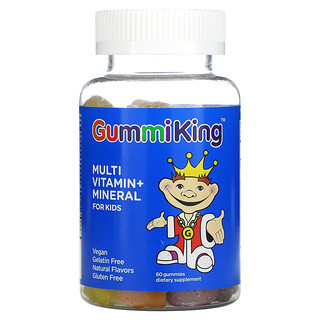 GummiKing, 儿童补充的复合维生素+矿物质,草莓、橙子、柠檬、葡萄、樱桃和葡萄柚子味,60 粒软糖