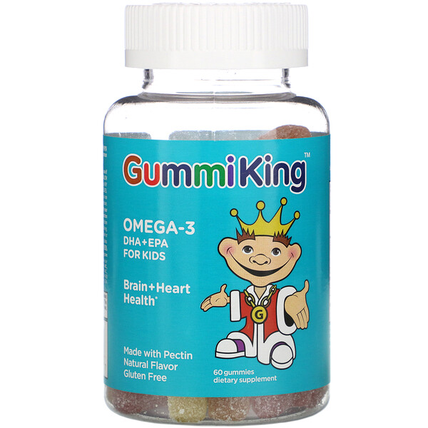 GummiKing, Omega-3 DHA + EPA for Kids, Strawberry, Orange and Lemon, 60 Gummies