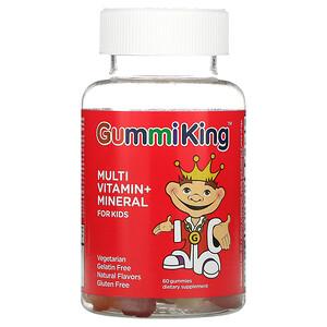 GummiKing, Multi Vitamin + Mineral For Kids, Grape, Lemon, Orange, Strawberry And Cherry, 60 Gummies