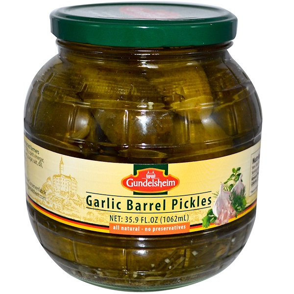 Gundelsheim, Garlic Barrel Pickles, 35.9 fl oz (1062 ml) (Discontinued Item)