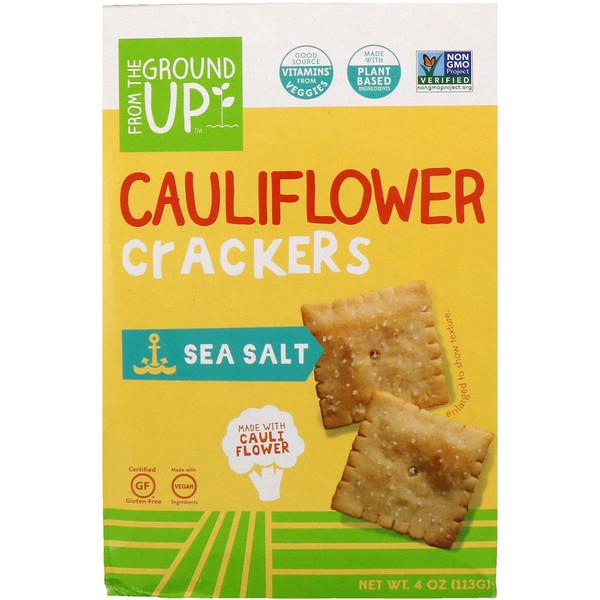 From The Ground Up, Cauliflower Crackers, Sea Salt, 4 oz (113 g)