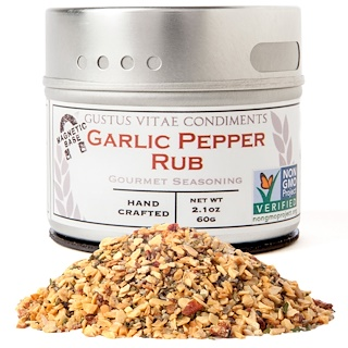 Gustus Vitae, Gourmet Seasoning, Garlic Pepper Rub, 2.1 oz (60 g)