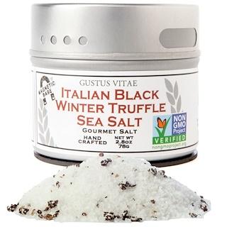 Gustus Vitae, Sal Gourmet, Sal marina italiana de trufa negra, 2,8 onzas (76 g)