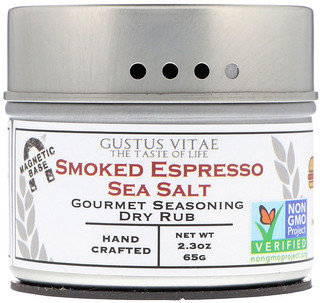 Gustus Vitae, Gourmet Seasoning Dry Rub, Smoked Espresso Sea Salt, 2.3 oz (65 g)