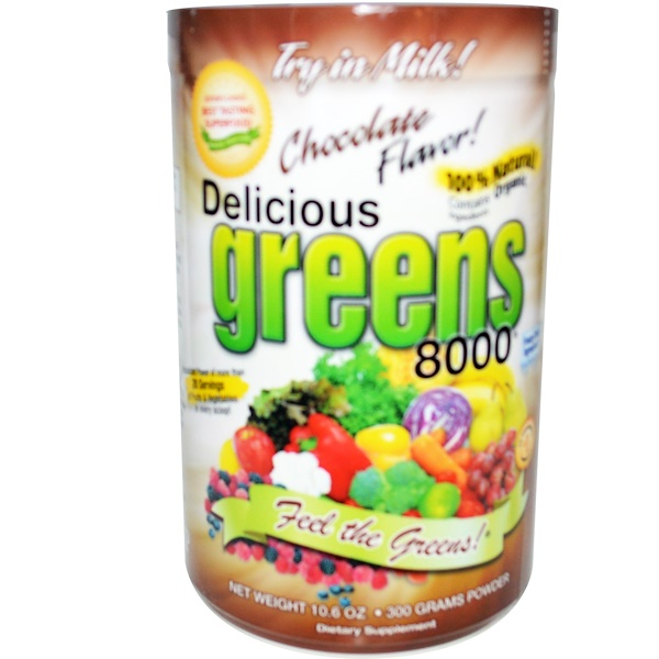 Delicious Greens 8000, Sabor a Chocolate, 10.6 oz (300 g) Polvo