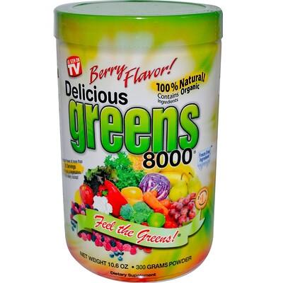 Greens World Вкусная зелень 8000, ягодный вкус, 10,6 унций (300 г)