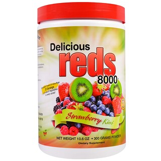 Greens World, Delicious Reds 8000, Strawberry Kiwi, Powder, 10.6 oz (300 g)