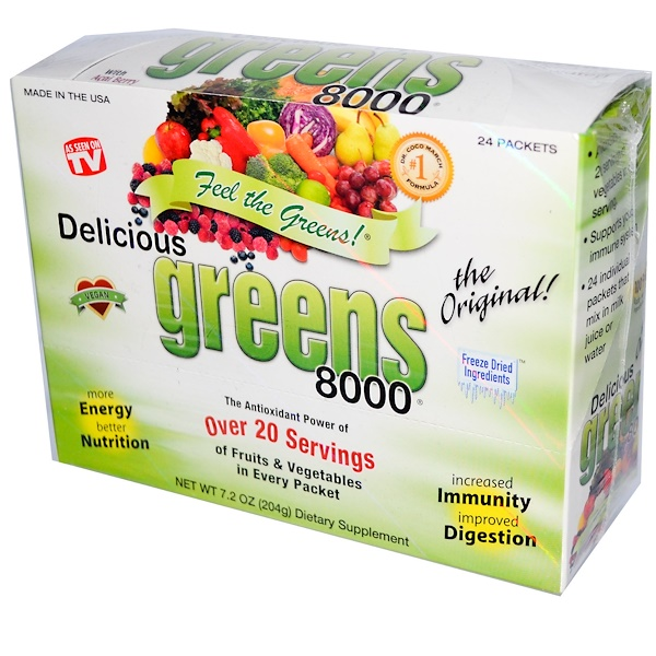 Greens World, Delicious Greens 8000, Original, 24 Packets, 7.2 oz (204 g) (Discontinued Item)