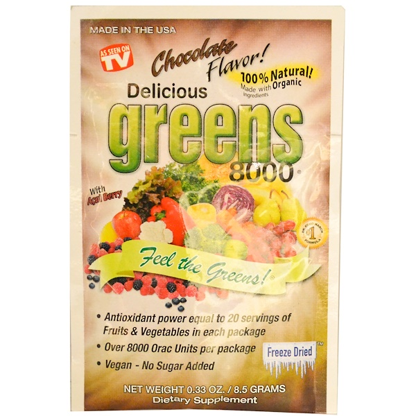 Greens World, Delicious Greens 8000, Chocolate Flavor, 0.33 oz (8.5 g) (Discontinued Item)
