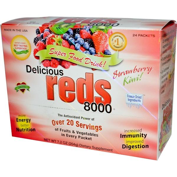 Greens World, Delicious Reds 8000, напиток из супер пищи, клубника и киви 24 пакетика, 7.2 унции (204 г) (Discontinued Item)
