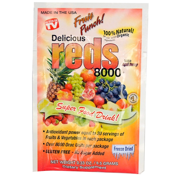 Greens World, Delicious Reds 8000, Fruit Punch, 0.33 oz (8.5 g) (Discontinued Item)