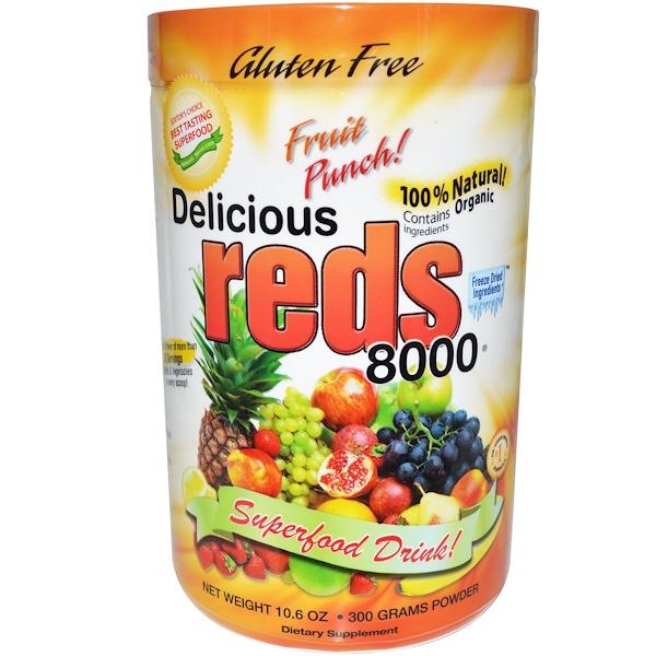 Greens World, Вкусные красные 8000, фруктовый вкус!, 10,6 унций (300 г) в виде порошка (Discontinued Item)