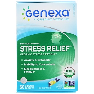 Genexa, Stress Relief, Organic Stress & Fatigue, Vanilla Lavender Flavor, 60 Chewable Tablets