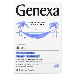 Genexa, مكافحة الإجهاد، تركيبة عضوية لمكافحة الإجهاد والإرهاق، بالفانيليا العضوية والخزامى، 60 قرص للمضغ