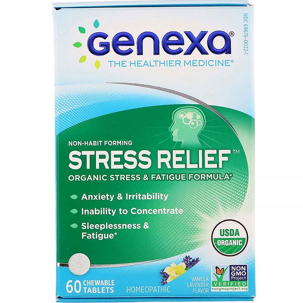 Stress Relief, Organic Stress & Fatigue Formula, Vanilla Lavender Flavor, 60 Chewable Tablets