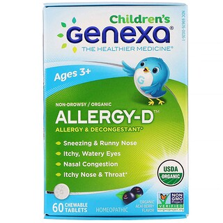Genexa, Children's Allergy-D, Ages 3+,  Allergy & Decongestant, Organic Acai Berry Flavor, 60 Chewable Tablets