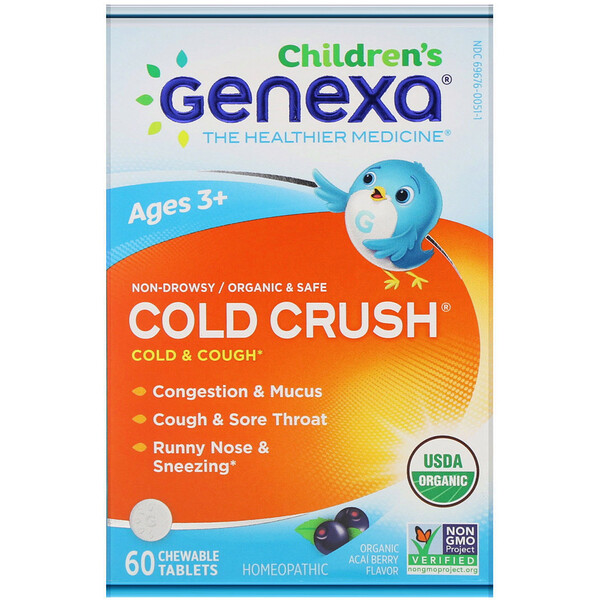 Genexa, Cold Crush for Children, Age 3+, Cold & Cough, Organic Acai Berry Flavor, 60 Chewable Tablets