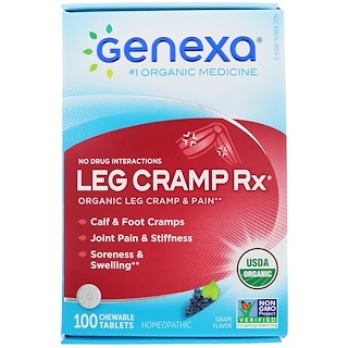 Genexa, Leg Cramp Rx, Organic Leg Cramp & Pain, Grape Flavor, 100 Chewable Tablets