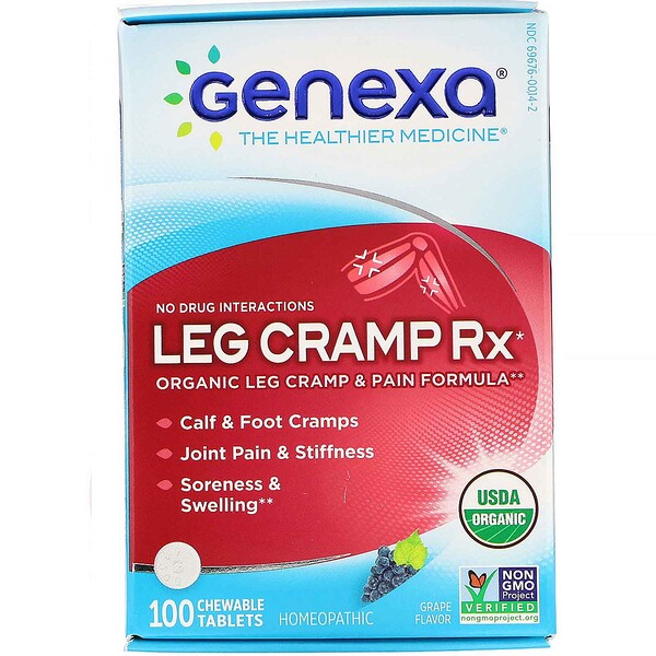 Leg Cramp Rx, Organic Leg Cramp & Pain Formula, Grape Flavor, 100 Chewable Tablets