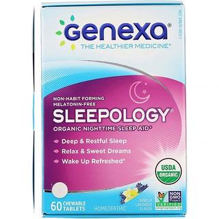 Genexa, Sleepology, Organic Nighttime Sleep Aid, Vanilla Lavender Flavor, 60 Chewable Tablets