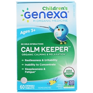 Genexa LLC, Calm Keeper for Children, Age 3+, Organic Calming & Relaxation, Vanilla Lavender Flavor, 60 Chewable Tablets