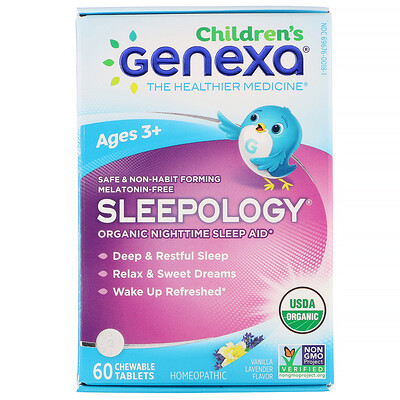 Купить Genexa Children's Sleepology, Organic Nighttime Sleep Aid, Vanilla Lavender Flavor, Ages 3+, 60 Chewable Tablets
