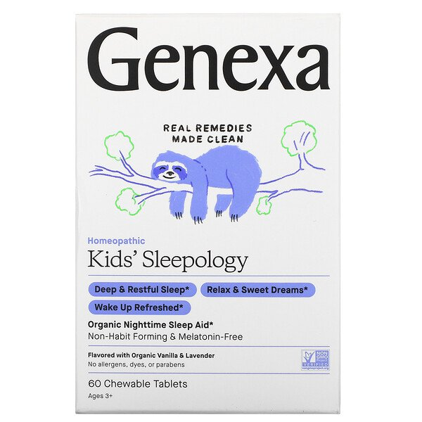 Genexa, Kid's Sleepology, Organic Nighttime Sleep Aid, Vanilla Lavender Flavor, Ages 3+, 60 Chewable Tablets