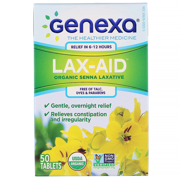 Lax-Aid, Organic Senna Laxative,  50 Tablets