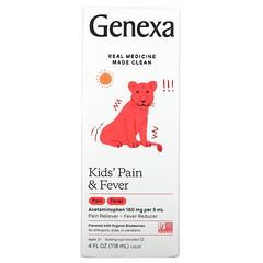 Genexa, 兒童疼痛和發燒舒緩,2 歲以上,有機藍莓,4 液量盎司(118 毫升)