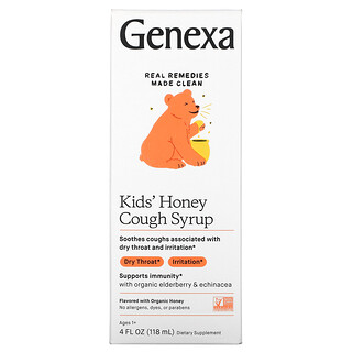 Genexa, Kid's Honey Cough Syrup, Ages 1+, Organic Honey, 4 fl oz (118 ml)