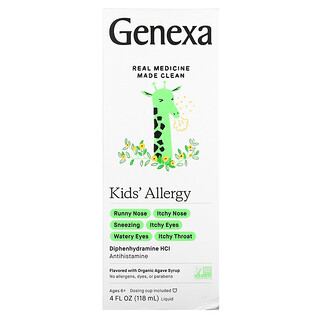 Genexa, Kid's Allergy, Ages 6+, Organic Agave Syrup, 4 fl oz (118 ml)