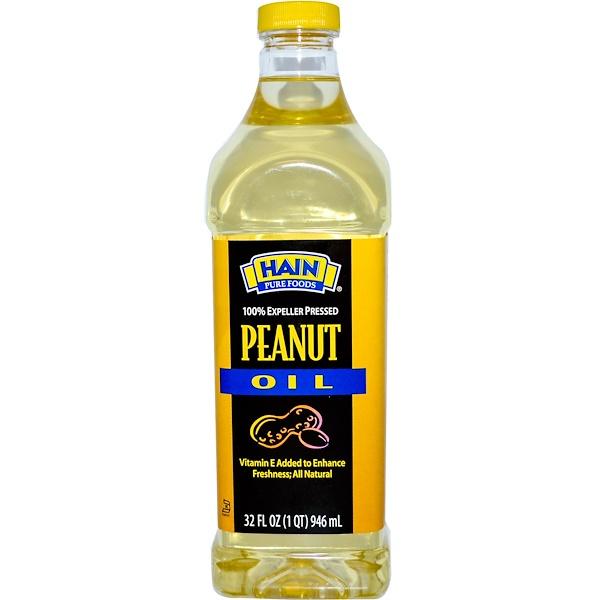 Hain Pure Foods, Peanut Oil, 32 fl oz (946 ml) (Discontinued Item)