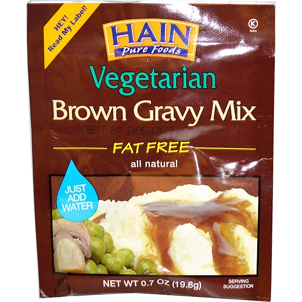 Hain Pure Foods, Vegetarian Brown Gravy Mix, 0.7 oz (19.8 g) (Discontinued Item)