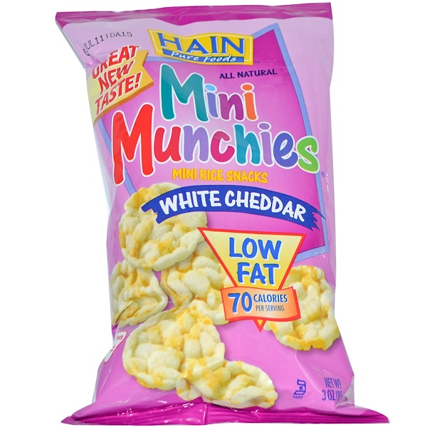 Hain Pure Foods, Mini Munchies, Mini Rice Snacks, White Cheddar, 3 oz (85 g) (Discontinued Item)