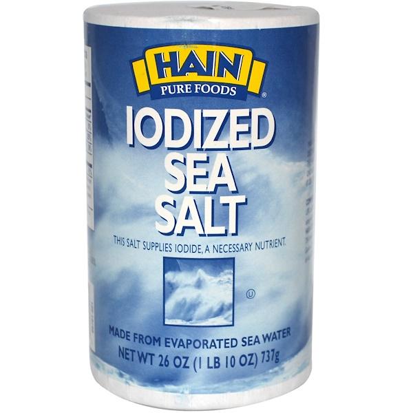 Hain Pure Foods, Йодированная морская соль, 26 унций (737 г) (Discontinued Item)