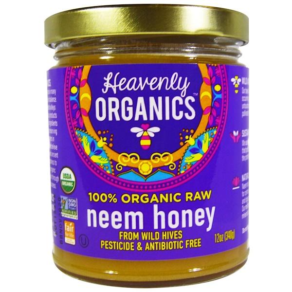 Heavenly Organics, 100% органический сырой мед с цветков ним, 12 унций (340 г)