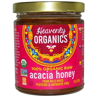 Heavenly Organics, Acacia Honey, 100% orgánico sin procesar 12 oz (340 g)