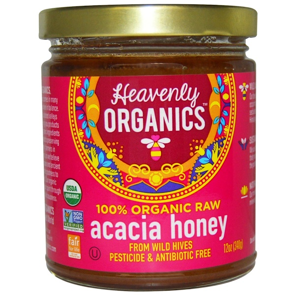 Heavenly Organics, 100% Organic Raw, Acacia Honey, 12 oz (340 g)