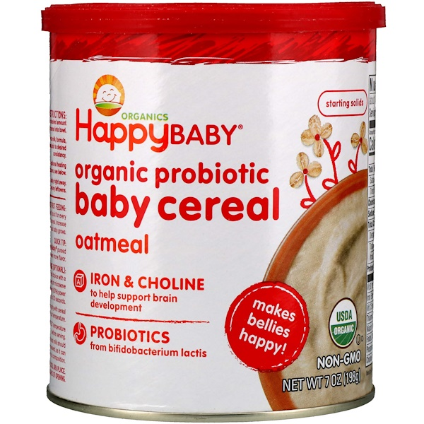 Happy Family Organics, Organic Probiotic Baby Cereal, Oatmeal, 7 oz (198 g)
